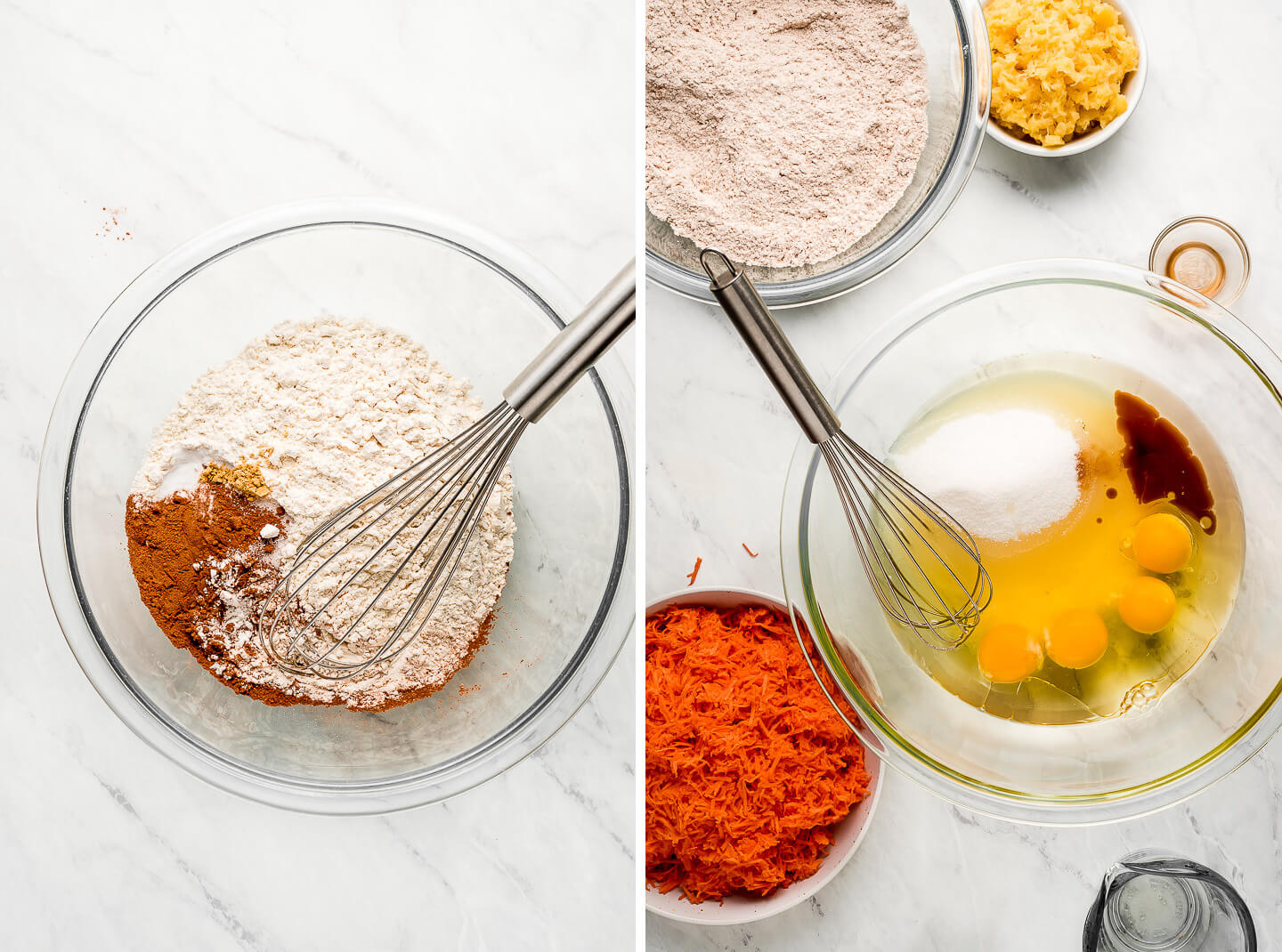 Diptych- Dry ingredients in a bowl with a whisk; Wet ingredients with sugar in a bowl with pineapple, shredded carrots, and dry ingredients to the side.