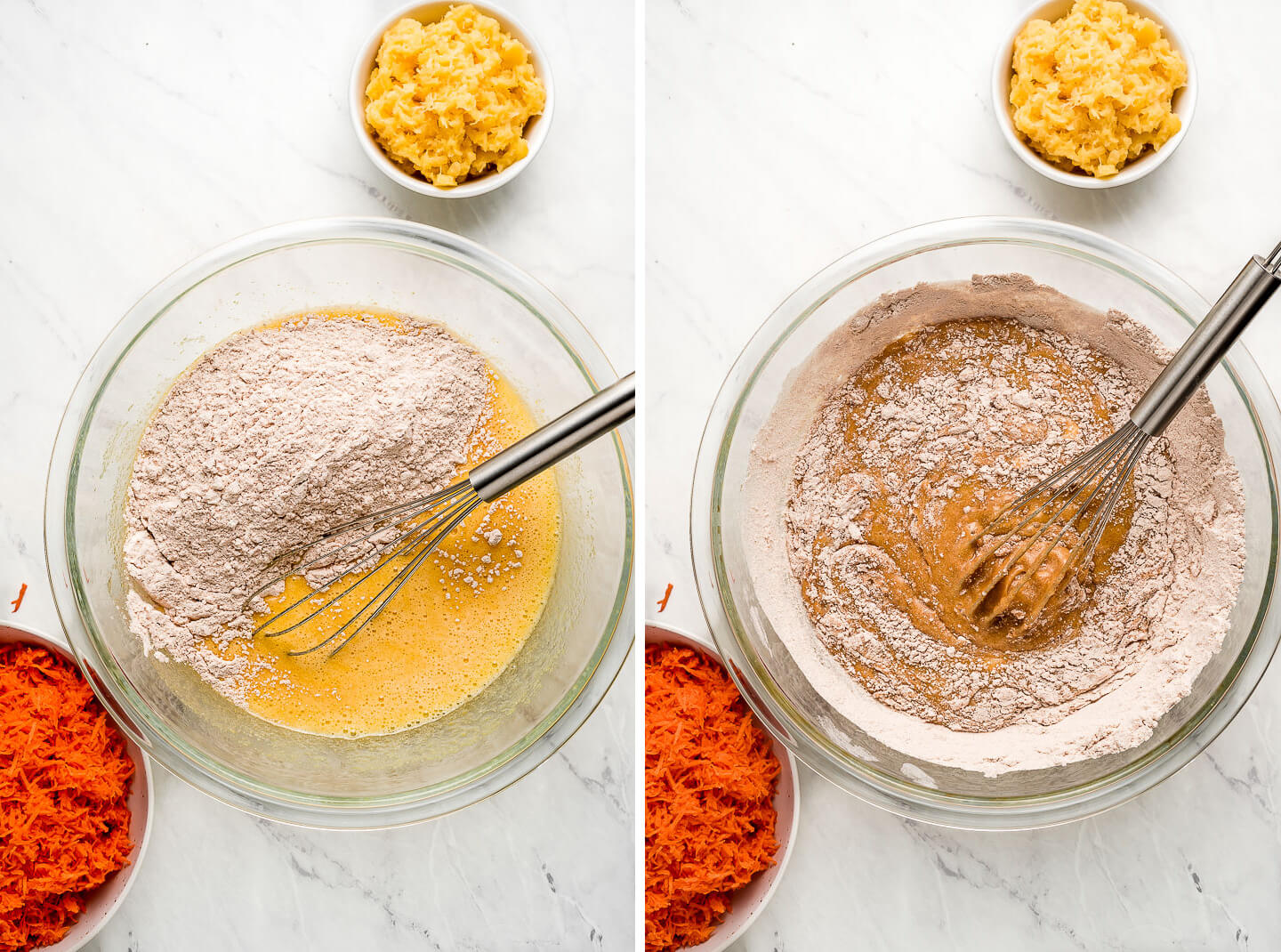 Diptych- A large mixing bowl of dry ingredients being added to liquid ingredients with pineapple and carrots to the side; batter being mixed together.