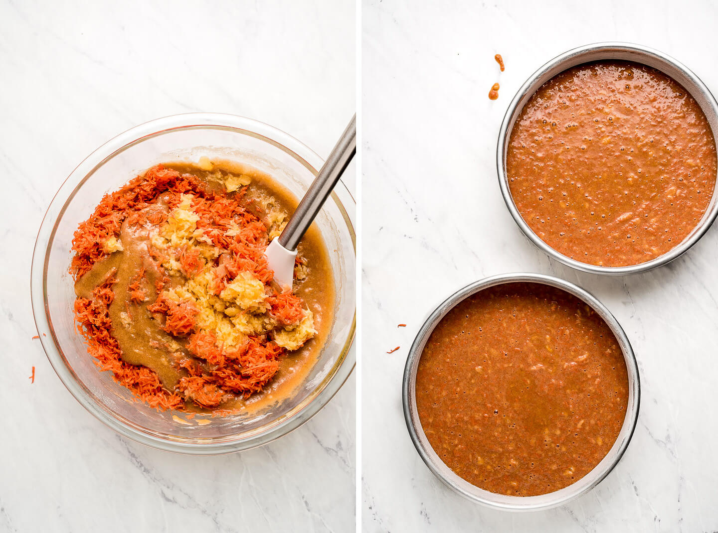 Diptych- stirring carrots and pineapple into batter; two round baking pans filled with batter.