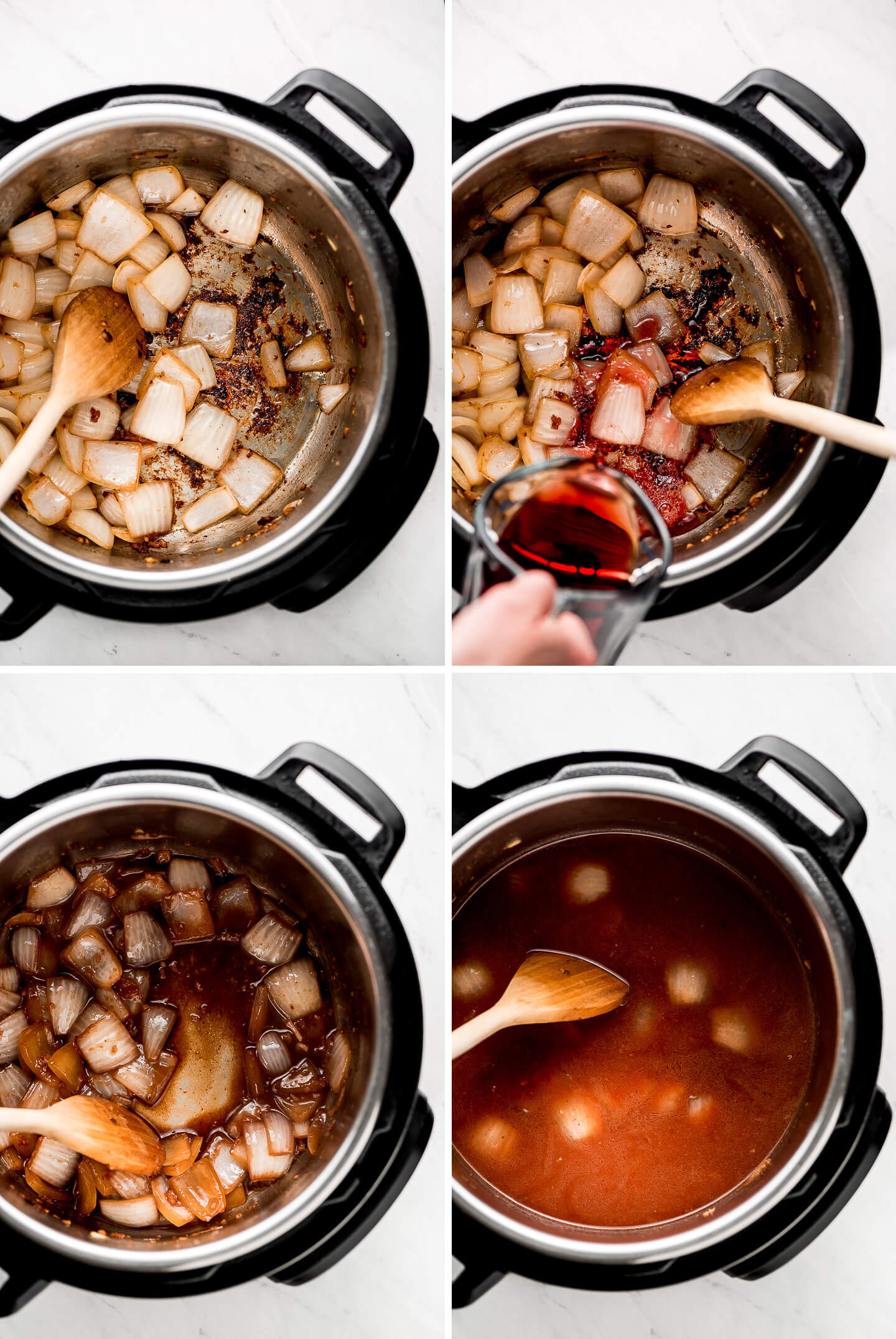 Process shots of cooking onion and deglazing pan with red wine and then adding in broth.