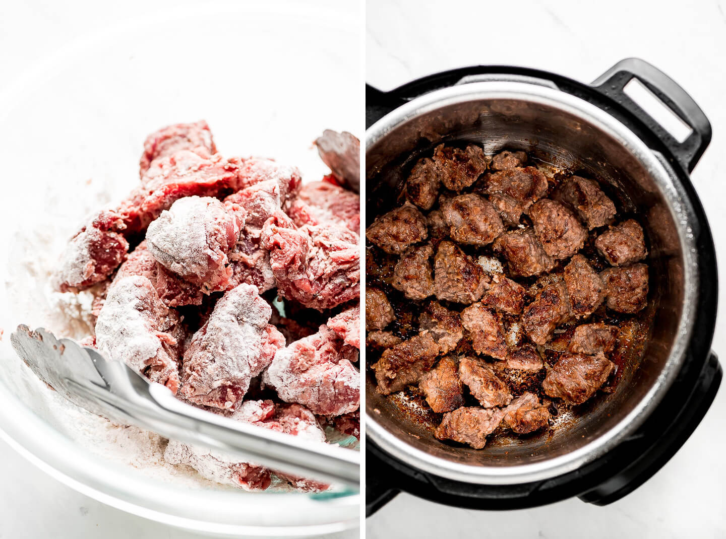 Diptych- Raw pieces of beef in a bowl coated in flour; Browned beef in an Instant Pot.