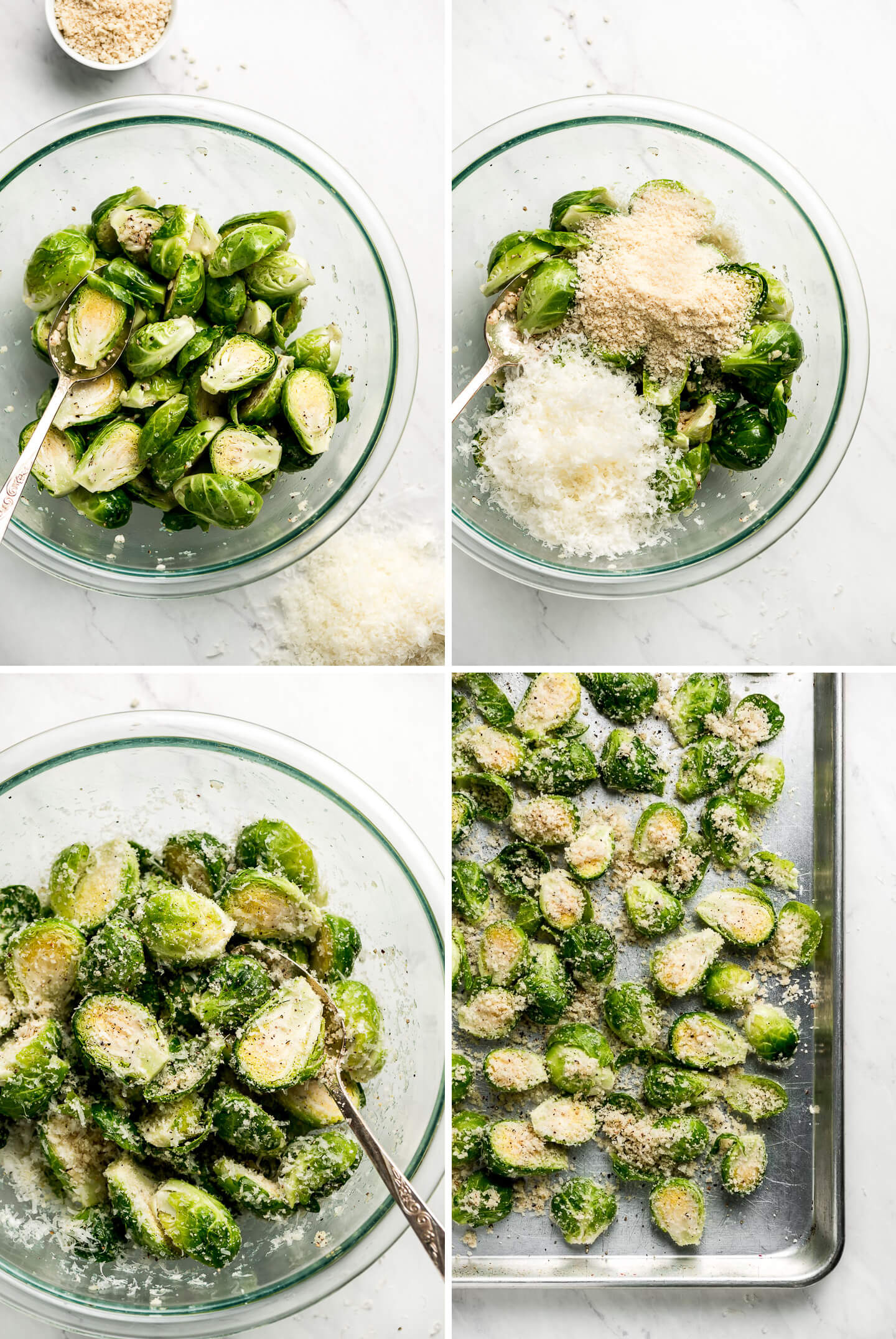 Process shots: brussels in a bowl, topped with parmesan and panko, mixed, and then spread on a baking sheet.