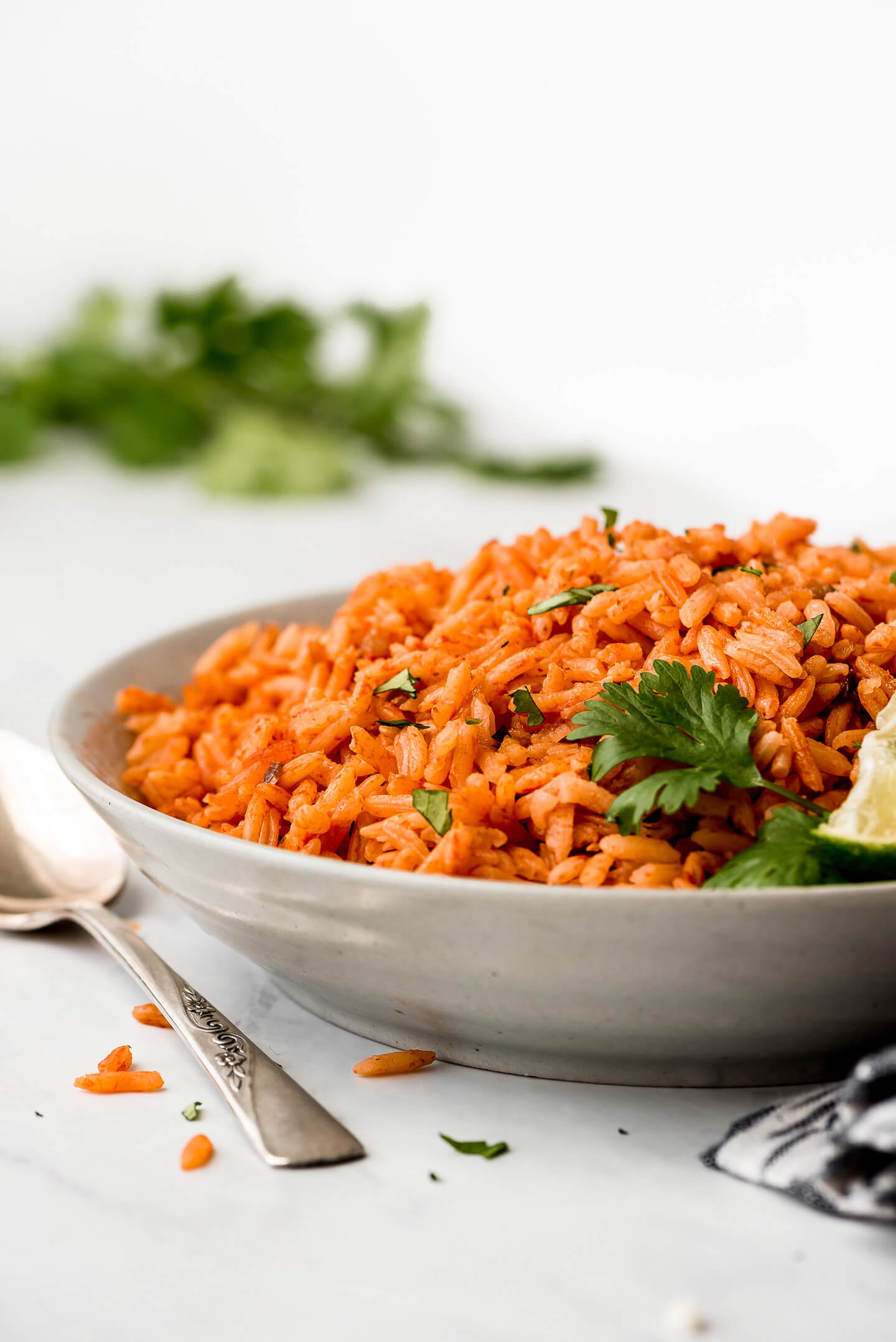 A close-up shot of Mexican Rice in a serving bowl.