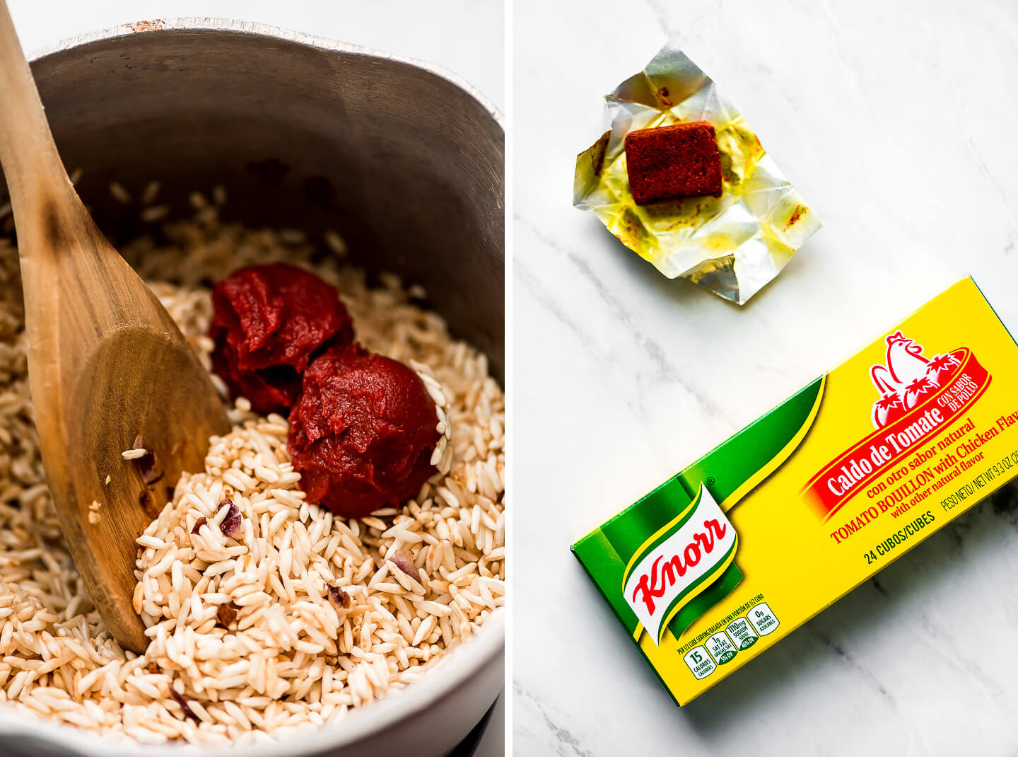 Diptych- Pot of browned rice with tomato paste; Tomato Bouillon on a marble surface.