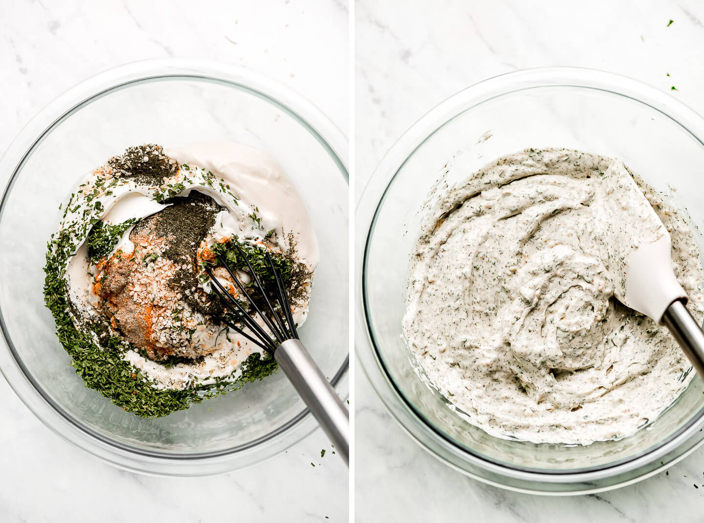 Diptych- mayo, sour cream, spices & herbs in a bowl; dip mixed together.