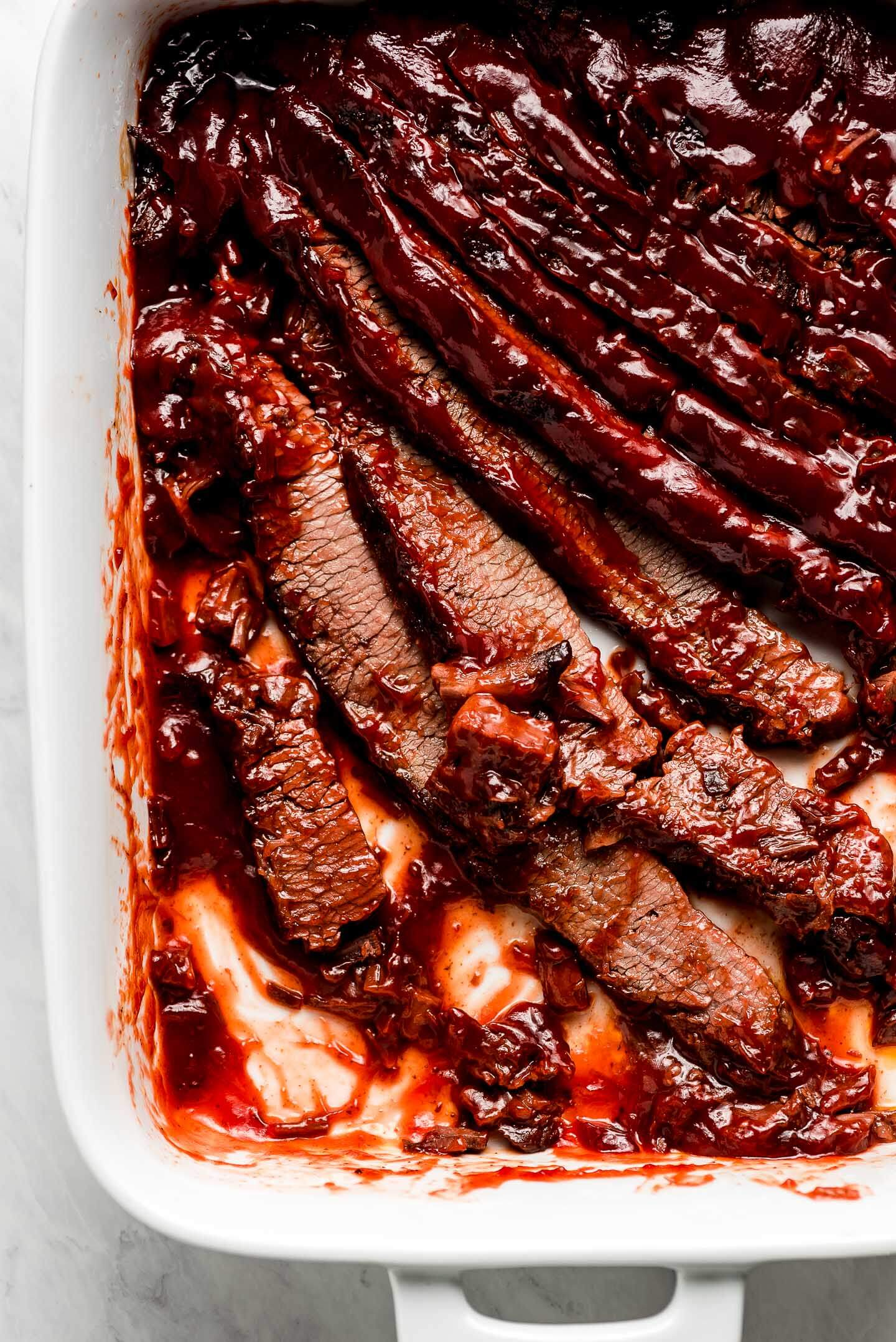 A half empty pan of Brisket made in the oven.