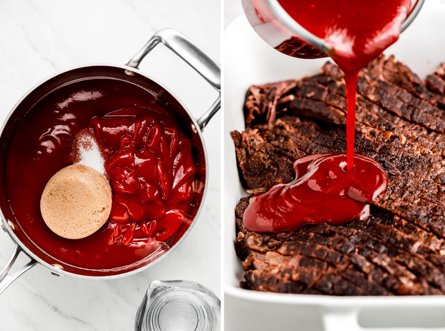 A pot of ketchup, barbecue sauce, and brown sugar; pouring barbecue sauce over sliced brisket.