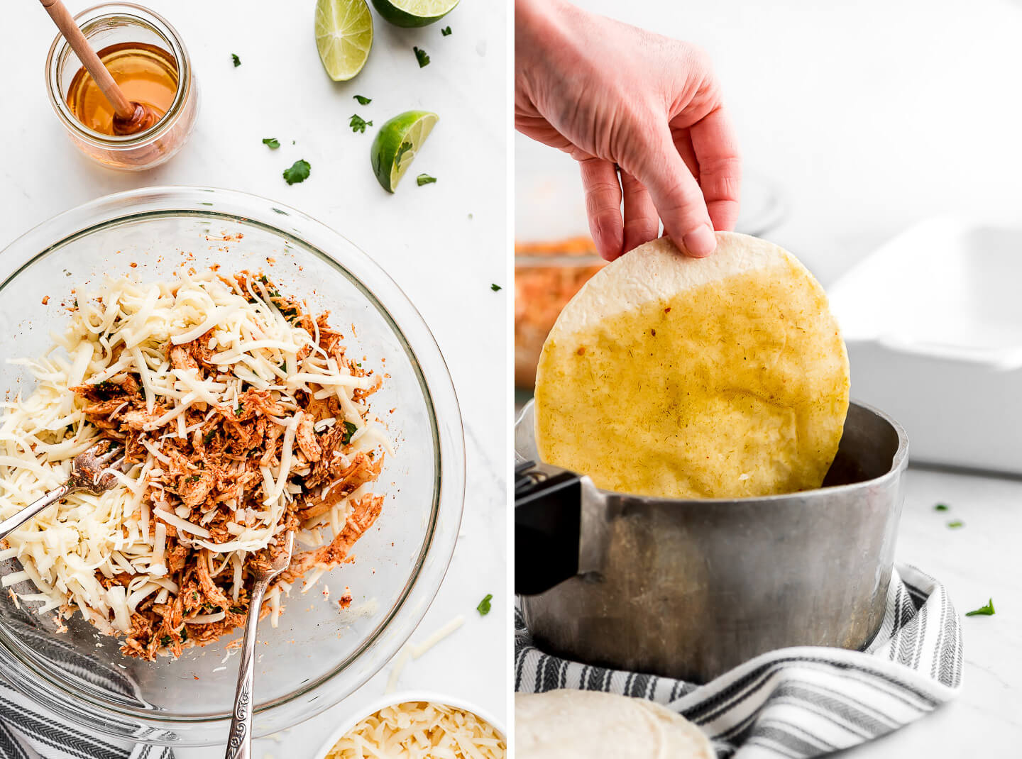 Diptych- Mixing together a chicken and cheese filling; dipping corn tortilla in a pot of warm enchilada sauce.