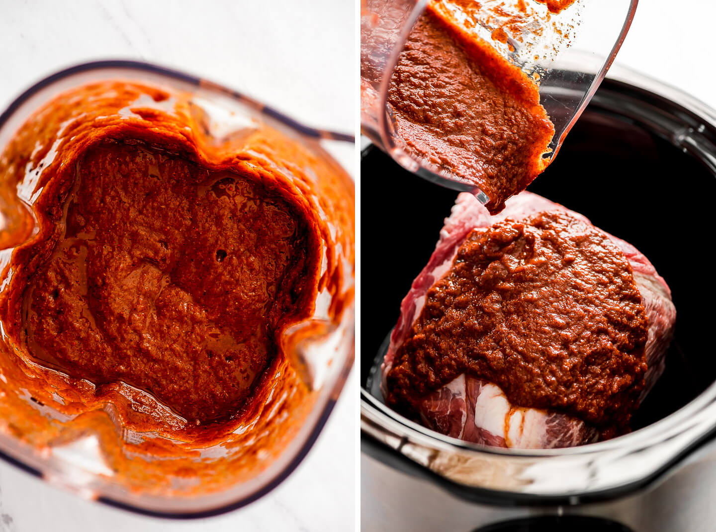 A thick red sauce in a blender poured over a pork roast in a slow cooker.