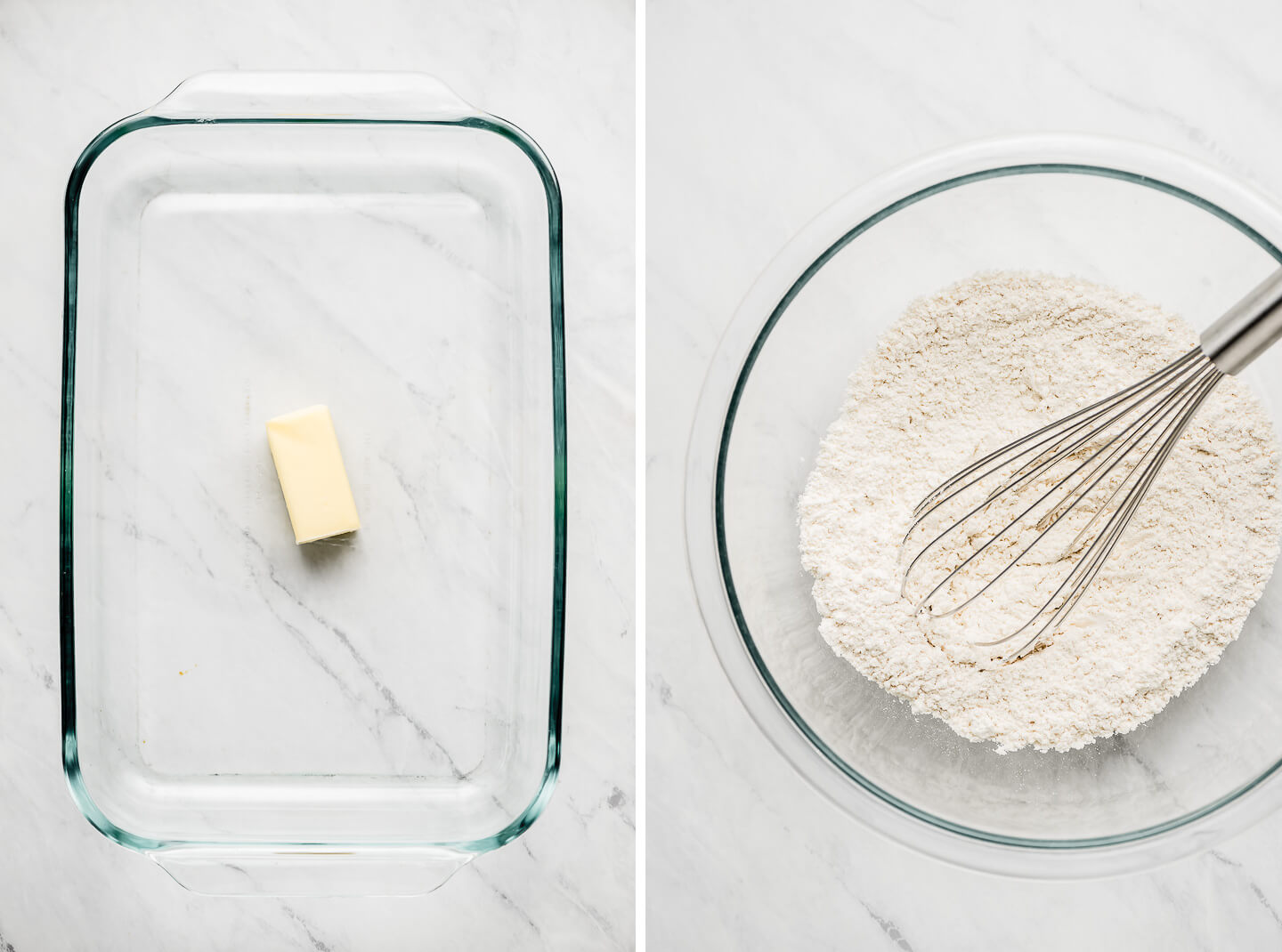 Butter in a glass baking pan; flour and a whisk in a glass mixing bowl