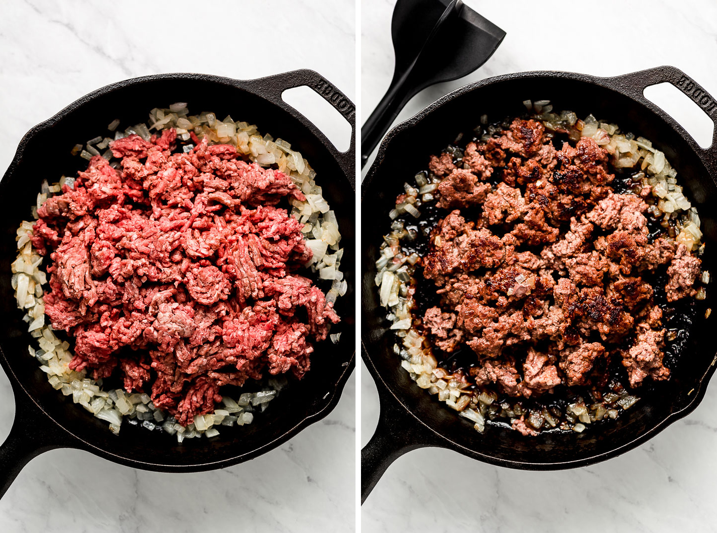 Raw ground beef in a cast iron skillet with onions pushed out to the sides; ground beef seared in pan.