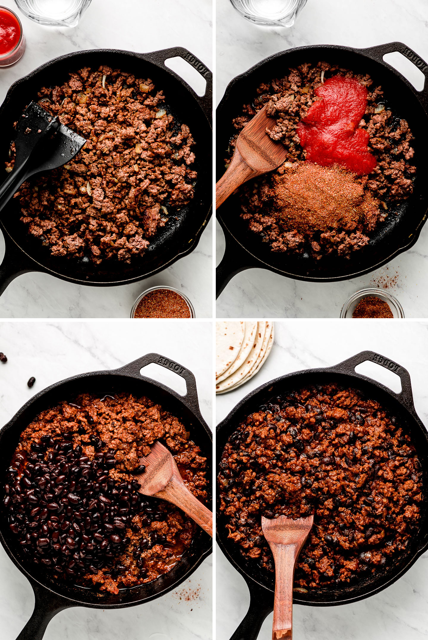 Crumbled ground beef in a cast iron skillet; tomato sauce and seasoning added on top; beans added and mixed into the meat.