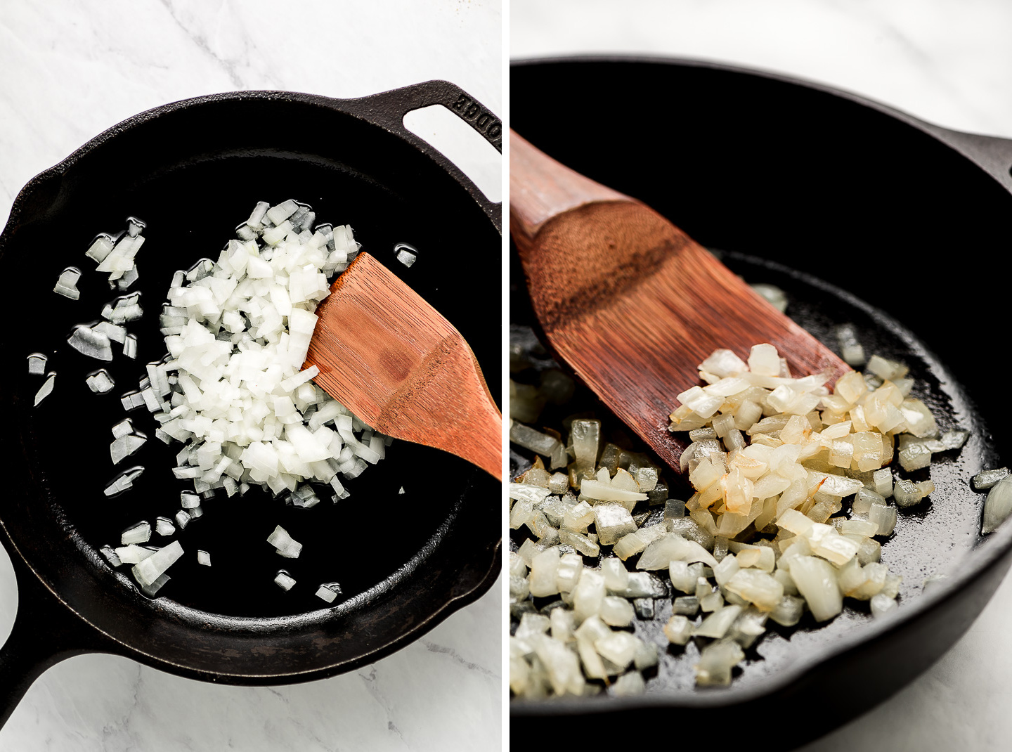 A cast iron skillet with raw onions; cooked, translucent onions in a skillet.