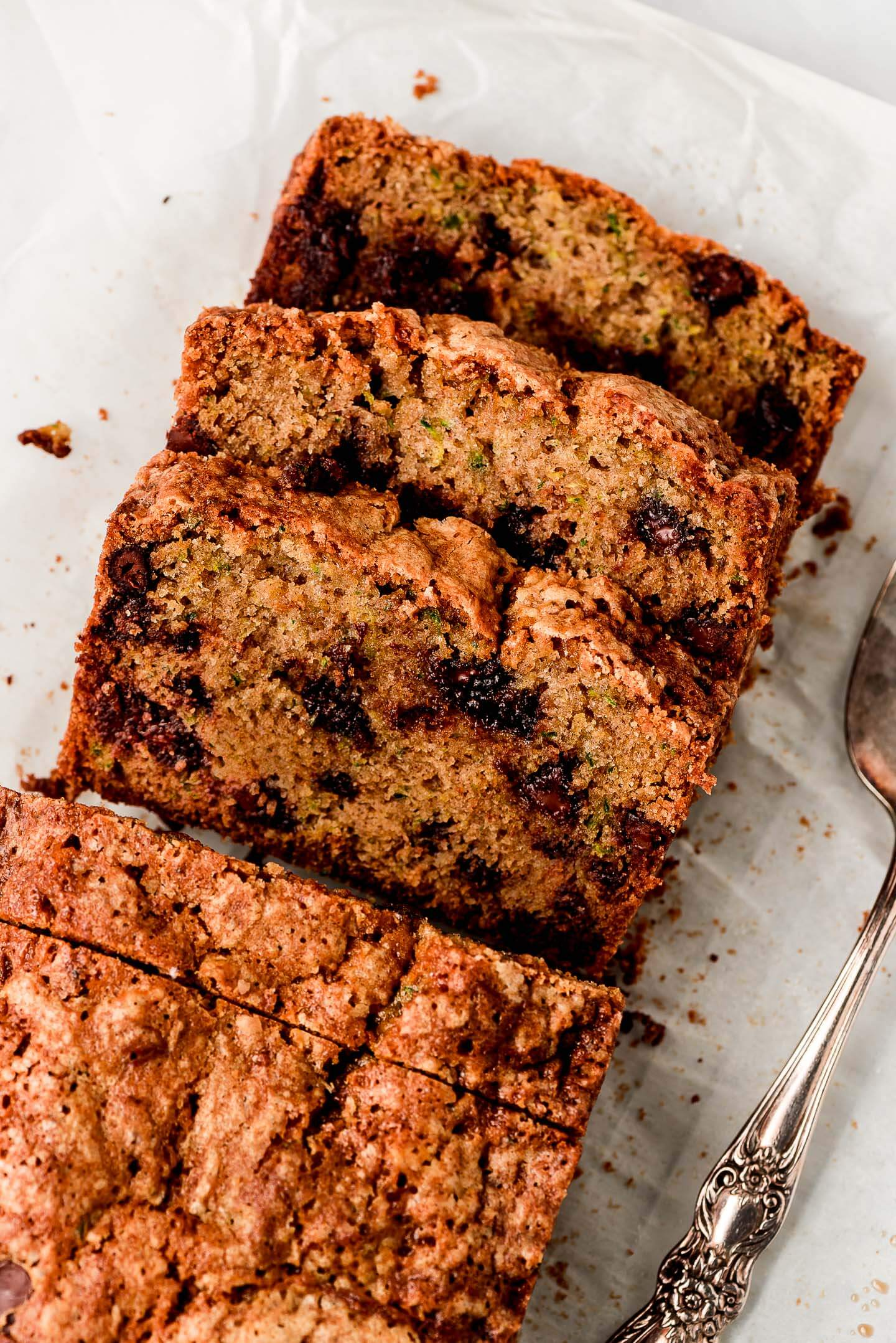 Top view of sliced Chocolate Chip Zucchini Bread.