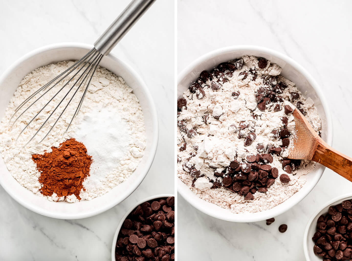Dry ingredients in a mixing bowl with chocolate chips to the side; chocolate chips stirred into dry ingredients.