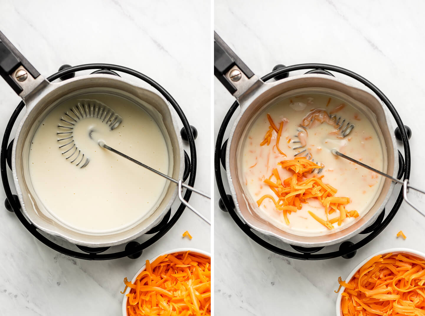 Process shots of adding shredded cheddar cheese to a béchamel to make a mornay sauce.