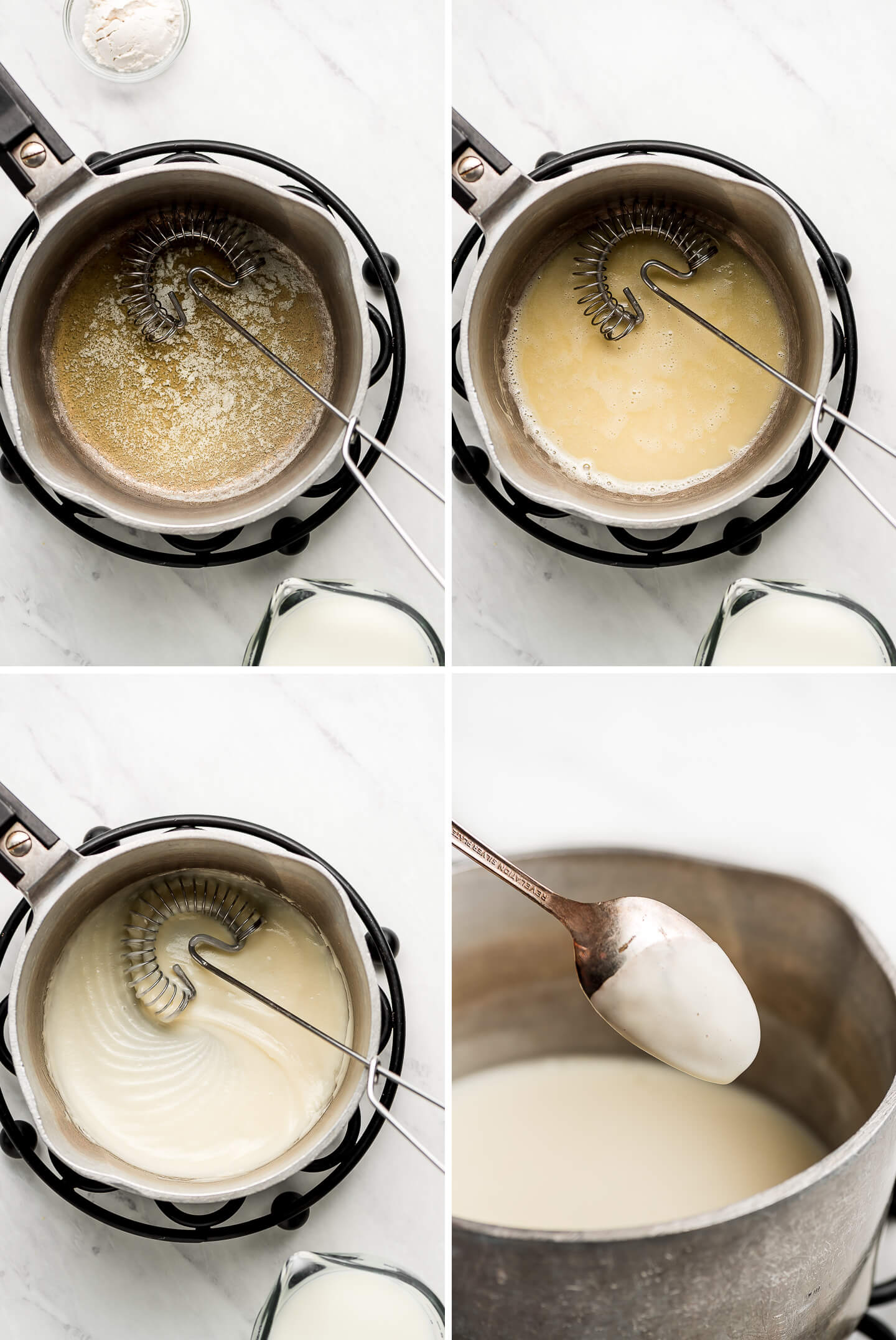 Process shots of making a roux with butter and flour in a pot; adding milk to make a béchamel.