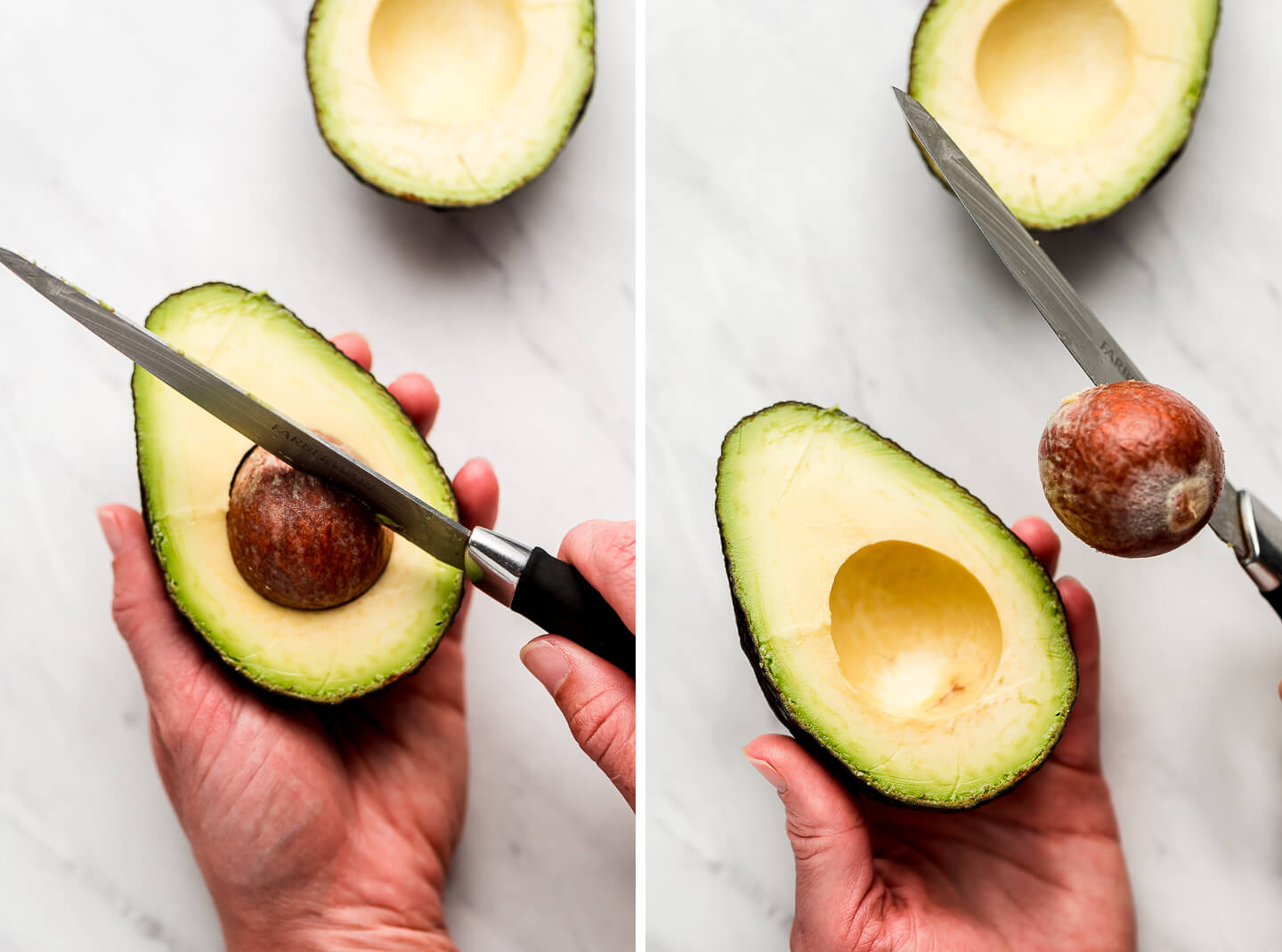 A hand holding half an avocado and a knife pressed into the pit lifting it out.